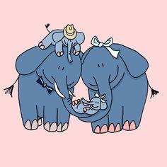 Voor Evy | Een uniek geboortekaartje met een olifantenfamilie, naar aanleiding van een idee van de ouders. Grote broer zit op de nek bij pa.