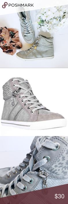 G by Guess Orizze high top sneakers These are such a fun and pretty high top sneakers! My favorite part would have to be the Leopard print on the top of the shoe and also the zipper detail. I'm open to offers on this Item G by Guess Shoes Sneakers