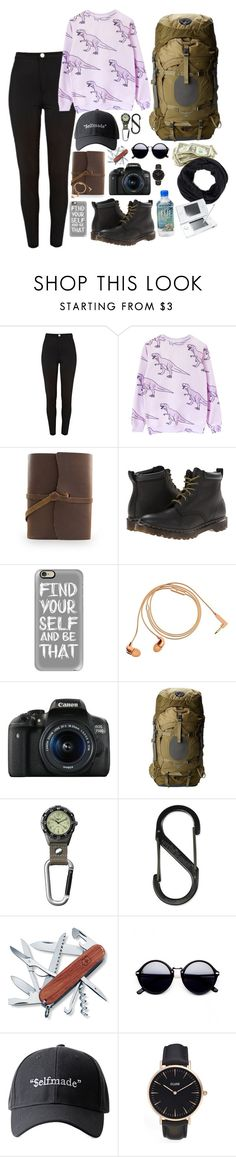 """Sin título #585"" by mary-nava ❤ liked on Polyvore featuring River Island, Dr. Martens, Casetify, Happy Plugs, Canon, Osprey, Dakota, Nite Ize, Victorinox Swiss Army and CLUSE"