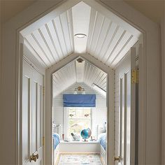 Ceiling Finish: Beadboard Panels A timeless classic, these tongue-and-groove panels are easy to install and will protect the low ceiling from dings and dents. Attic Master Bedroom, Attic Bedroom Designs, Attic Design, Attic Bedrooms, Attic Bathroom, Bedroom Ideas, Master Suite, Bunk Rooms, Kids Bedroom
