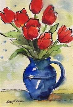 "Daily Paintworks - ""Red Hot and Blue"" - Original Fine Art for Sale - © Nancy F. Watercolor Projects, Watercolor Sketch, Watercolor Landscape, Abstract Watercolor, Watercolor Flowers, Watercolor Paintings, Watercolours, Tulip Painting, Painting Flowers"