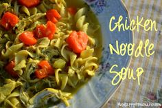 Homemade Chicken Noodle Soup {with heart shaped carrots}