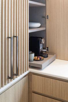 Kitchen Appliance Storage, Kitchen Pantry, Kitchen Cabinets, Kitchen Appliances, Basement Kitchen, Copper Appliances, Appliance Garage, Timber Kitchen, Wooden Kitchen