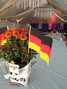 Fiery chrysanthemums and German flag centerpieces at the Sewickley Oktoberfest tent
