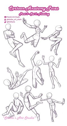 Drawing Cartoon Poses ~Starla's Art Studio - Floating Poses: Here's a reference page to draw some characters floating. This pin can be used as - Art Drawings Sketches, Cartoon Drawings, Drawing Cartoon Characters, How To Draw Characters, Pin Up Drawings, Hipster Drawings, Body Sketches, Pencil Drawings, Drawing Body Poses