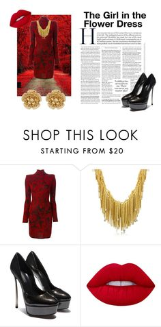 """""""The Girl in the Flower Dress"""" by blackdust on Polyvore featuring beauty, Balmain, Orlando Orlandini, Lime Crime and Miriam Haskell"""