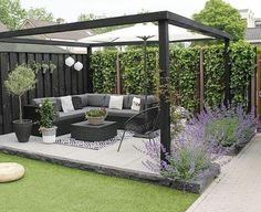 Amazing Modern Pergola Patio Ideas for Minimalist House. Many good homes of classical, modern, and minimalist designs add a modern pergola patio or canopy to beautify the home. In addition to the installa. Backyard Patio Designs, Small Backyard Landscaping, Diy Patio, Pergola Patio, Modern Pergola, Pergola Ideas, Backyard Ideas, Black Pergola, Backyard Gazebo
