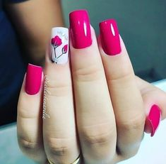 Hot pink and white with flower on stem Em Nails, Hot Pink Nails, Different Nail Designs, Wedding Nails Design, Nail Arts, Manicure And Pedicure, Traditional Tattoo, Pretty Nails, Nail Polish