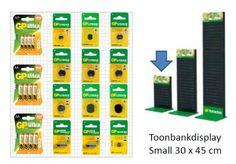 Gp Knoopcellen en gangbare alkaline batterijen op 1 display Bar Chart, Diagram, Display, Products, Floor Space, Billboard, Bar Graphs, Gadget