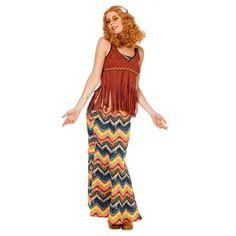 Hippie outfit voor dames. Complete hippie outfit voor dames, inclusief lange rok, top en hoofdband. Carnavalskleding 2015 #carnaval