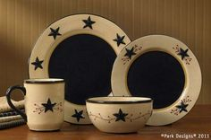 Country Primitive Dishes - Star Vine Dinnerware - Country Decor, Primitive Decor, Bedding, Braided Rugs