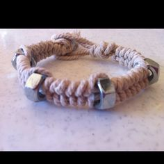 """My version of hex nut bracelet for the boys. Using the braid from the """"bracelet"""" tutorial, insert a hex bead on the middle stings every sixth braid."""