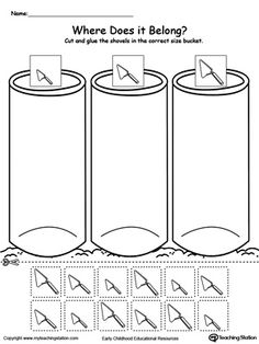In this sorting worksheet, children will sort the shovels by size and place them in the small, medium or large bucket.