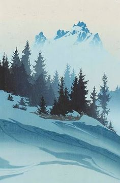 "winter landscape. Oscar Droege was an exceptional woodblock artist and one of the best of the German woodblock practitioners. He was born and died in Hamburg, and is a quintessential German proponent of the woodblock, or the ""farbholzschnitt""."