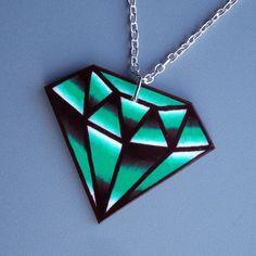 ICE - Big Ol Traditional Tattoo Diamond Necklace. $14,95, via Etsy.