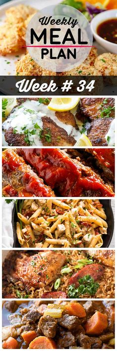 Weekly Meal Plan #34! A meal plan to help you keep things tasty each week, including crunchy baked coconut shrimp, pork scallopini, classic meatloaf, and more!   HomemadeHooplah.com