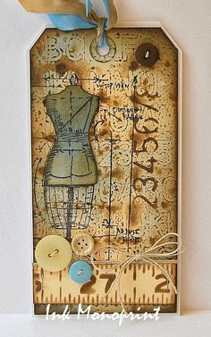 Kath's Blog......diary of the everyday life of a crafter: Layering Stencil Fun...dress form and tape measure
