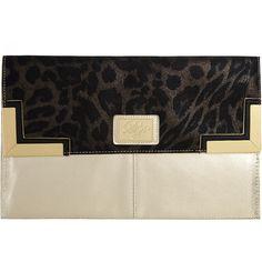Leopard large corner clutch ($27) ❤ liked on Polyvore