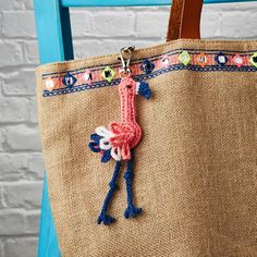 """Simply Crochet on Instagram: """"Anyone else obsessed with flamingos right now? This flamingo bag charm is such a speedy make! @airali_gray stitched it in…"""""""