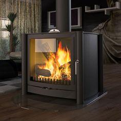Firebelly FB3 Double Sided Wood Burning Stove - Matt Black