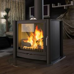 Firebelly FB3 Double Sided Wood Burning Stove - Matt Black
