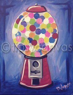 Bubblegum - The Tipsy Canvas. Easy Painting For Kids, Rock Painting Ideas Easy, Art For Kids, Kids Canvas, Canvas Art, Canvas Ideas, Kids Paint Night, Easy Paintings, Canvas Paintings