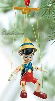 2011 Disney Store Pinocchio Marionette Christmas Ornament Puppet Wooden Boy