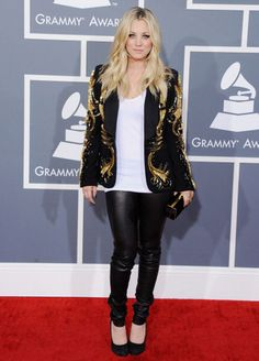 Kaley Cuoco mixed it up a bit with a blazer and black stretchy pants, rather than a more typical awards show-style gown.