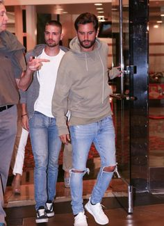 Scott Disick was spotted having a boys night out with some friends recently. The 33-year-old reality TV star stepped out for the evening in a John Elliot Kake Mock Pullover Hoodie, KsubiVan Winkle Non Cents Distressed Skinny Jeans (shop similar) and Adidas 'Triple White' Ultra Boost Sneakers (buy here).