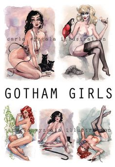 Batman Pin Up Gotham Girls with Catwoman Harley Quinn Zatanna Poison Ivy and Batgirl as Gil Elvgren Pin up girls