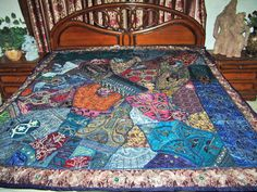 Indian Bedspread Coverlet Blue Heavy Beaded Zardozi Embroidered Throw Home Decor Indian Bedding, Indian Furniture, Spanish House, Mediterranean Homes, Architectural Elements, Bed Spreads, Sculptures, Quilts, Blanket