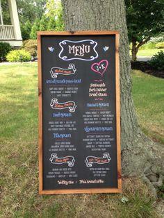 Custom Rustic 18 x 36  FRAMED Chalkboard Wedding Party Menu on Etsy, $100.00