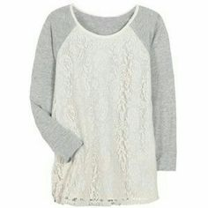 Stitch Fix Market & Spruce Lace Overlay Top Medium This cute top features a cream colored lace overlay. It is brand new with tags and is a size medium. Market & Spruce Tops Tees - Long Sleeve