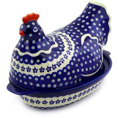 Polmedia Polish Pottery 13-inch Stoneware hen