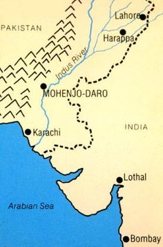 Indus River Valley map with Mohejo-Daro and Harappa