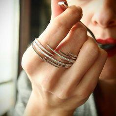 Diamond 'Jet Stream' Double Finger Ring,Diamond & 18K White Gold Double Finger Ring