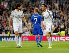 Cristiano Ronaldo of Real Madrid CF celebrates after scoring his team's first goal during the UEFA Champions League round of 16 second leg match between Real Madrid CF and FC Schalke 04 at Estadio Santiago Bernabeu on March 10, 2015 in Madrid, Spain.