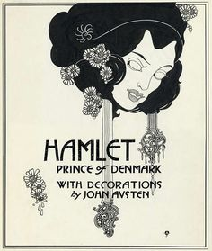 John Austen. Title design, Hamlet, Prince of Denmark. Pen and ink drawing, ca. 1922. Shelfmark ART Box A933 no. 5. At the Folger Shakespeare Library.