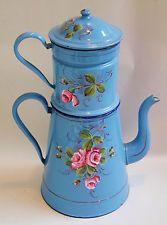 Rare Large Antique French Enamel Biggin Coffee Pot ~ Provence Blue w/ Flowers