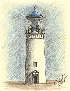 Lighthouse Of Hawaii- In Blue Drawing - Lighthouse Of Hawaii- In Blue Fine Art… Landscape Pencil Drawings, Pencil Sketch Drawing, Pencil Art Drawings, Blue Drawings, Cool Art Drawings, Easy Drawings, Lighthouse Sketch, Lighthouse Painting, Christian Drawings