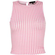 Pink Gingham Check Sleeveless Crop Top ($8.39) ❤ liked on Polyvore featuring tops, crop tops, shirts, gingham, pink pattern, all-over print shirts, pink top, sleeveless shirts, pastel shirts and pink checkered shirt