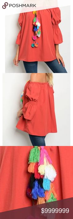 Off Shoulder Ruffled Sleeve Brick Top Off the shoulder 3/4 ruffled sleeve op with multi color detail. 100% Polyester  Bundle and save!! golden threads Tops