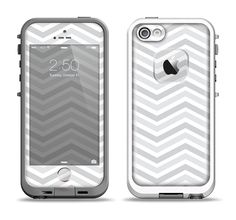The Subtle Wide White & Gray Chevron Apple iPhone 5-5s LifeProof Fre Case Skin Set