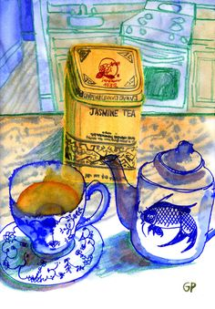 Jasmine Tea Art Print by gantpants Painting Inspiration, Art Inspo, Illustrations, Illustration Art, Arte Sketchbook, Tea Art, Typography Prints, Chinoiserie, Belle Photo