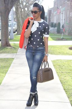 (sequins kate spade sweater) polka dot. love these boots