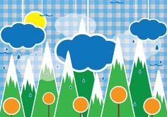 Rain forest illustration background design with mountains and rainy clouds. Free vector illustration for download in Ai and A4 jpg preview.