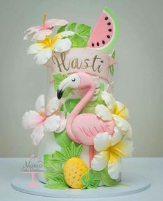Tropical Cake with Flamingo, Hibiscus Flowers, Watermelon and Pineapple - Dolphin Birthday Cakes, 13 Birthday Cake, Homemade Birthday Cakes, Birthday Cakes For Women, Cute Cakes, Pretty Cakes, Beautiful Cakes, Flamingo Cake, Flamingo Birthday