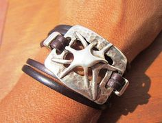 Women dark brown leather bracelet with silver plated by kekugi