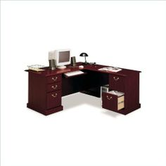 Bush Furniture Saratoga L-Shape and Lateral File Set by Bush. $795.33. Bush Furniture Saratoga L-Shape Wood Executive Desk in Harvest Cherry (included quantity: 1) If you want to make a sweeping statement without saying a word, the Bush Saratoga Executive Desk is the solution of choice. This luxury desk features filing drawers that accept letter, legal or A4-size files. Features: L-shaped form with double pedestal base File drawers Enclosed storage Durable melamine surf...