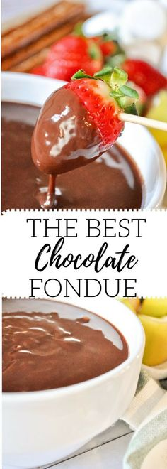 This is the easiest, best chocolate fondue recipe ever. Requested over and over again! A favorite Valentines Day treat. : This is the easiest, best chocolate fondue recipe ever. Requested over and over again! A favorite Valentines Day treat. Köstliche Desserts, Chocolate Desserts, Delicious Desserts, Dessert Recipes, Chocolate Cake, Chocolate Roulade, Chocolate Smoothies, Chocolate Shakeology, Dessert Party